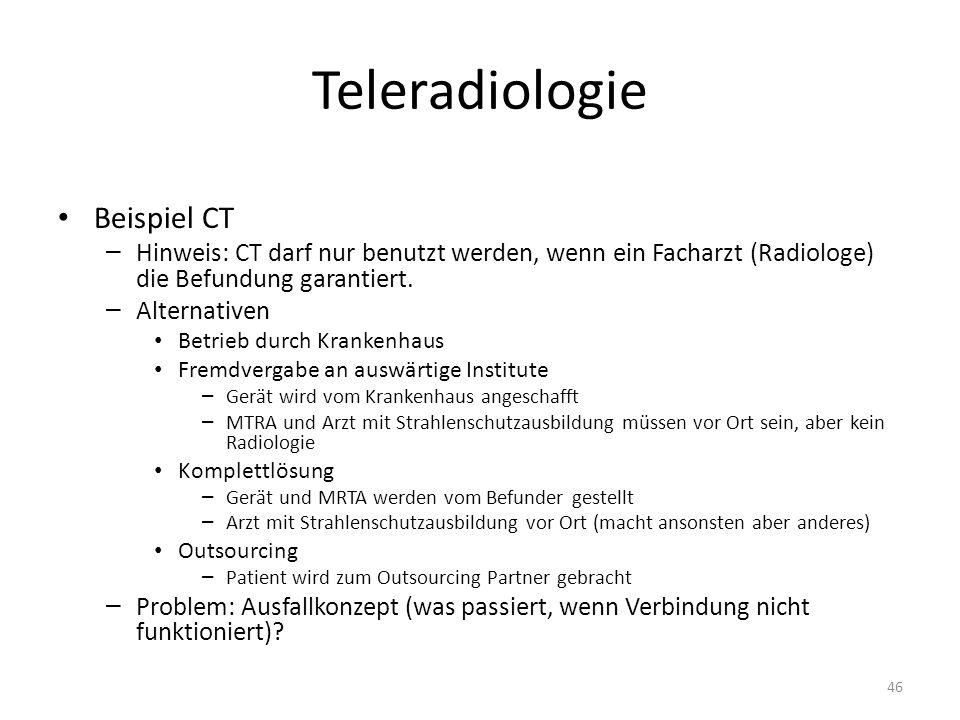 Teleradiologie Beispiel CT – Hinweis: CT darf nur benutzt werden, wenn ein Facharzt (Radiologe) die Befundung garantiert. – Alternativen Betrieb durch