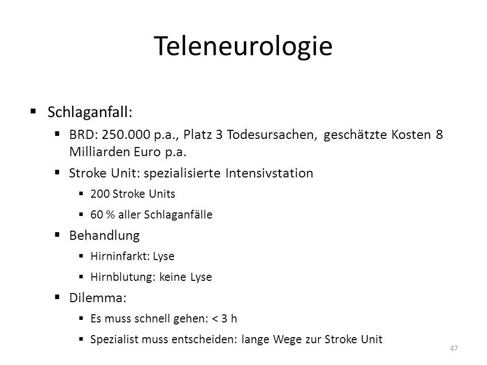 Teleneurologie Schlaganfall: BRD: 250.000 p.a., Platz 3 Todesursachen, geschätzte Kosten 8 Milliarden Euro p.a.