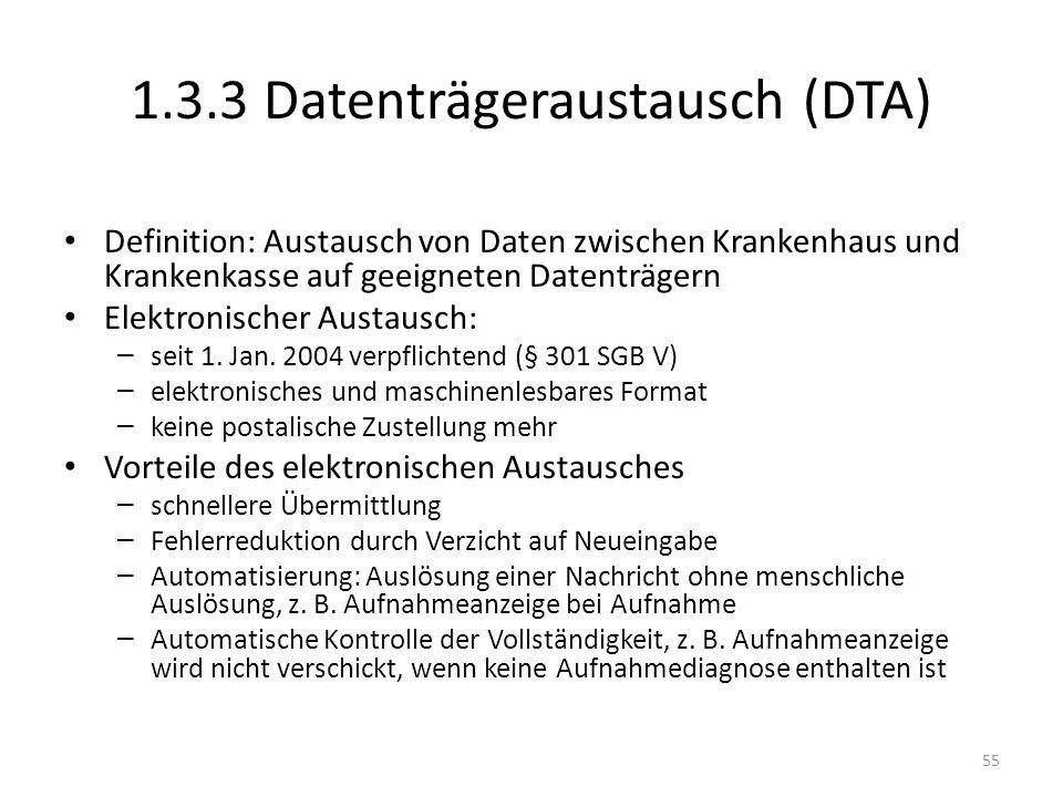 1.3.3 Datenträgeraustausch (DTA) Definition: Austausch von Daten zwischen Krankenhaus und Krankenkasse auf geeigneten Datenträgern Elektronischer Aust