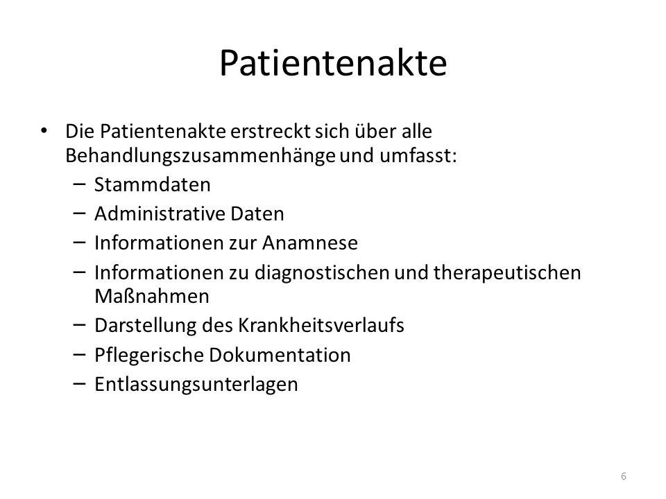 Patientenakte Die Patientenakte erstreckt sich über alle Behandlungszusammenhänge und umfasst: – Stammdaten – Administrative Daten – Informationen zur