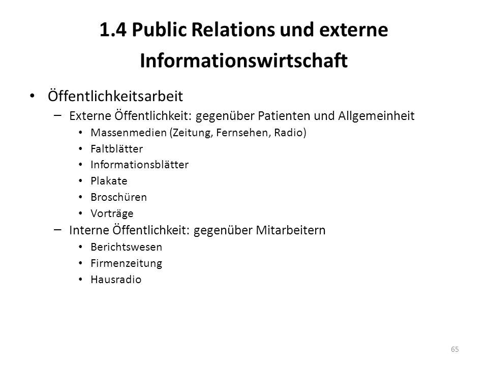 1.4 Public Relations und externe Informationswirtschaft Öffentlichkeitsarbeit – Externe Öffentlichkeit: gegenüber Patienten und Allgemeinheit Massenme