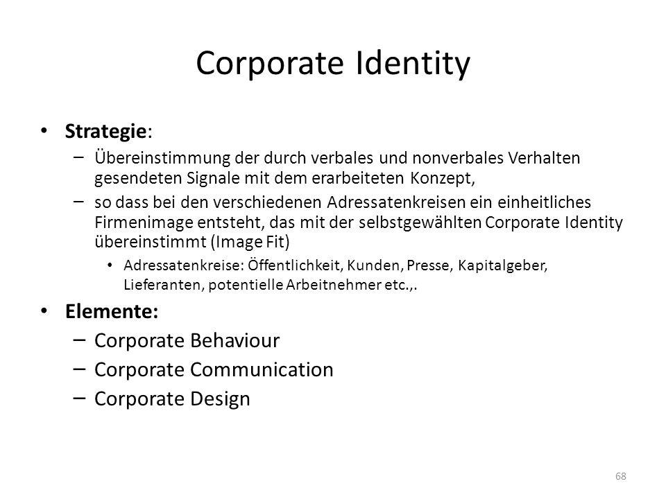 Corporate Identity Strategie: – Übereinstimmung der durch verbales und nonverbales Verhalten gesendeten Signale mit dem erarbeiteten Konzept, – so das