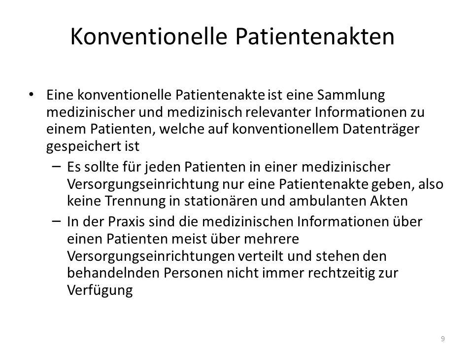Konventionelle Patientenakten Eine konventionelle Patientenakte ist eine Sammlung medizinischer und medizinisch relevanter Informationen zu einem Pati