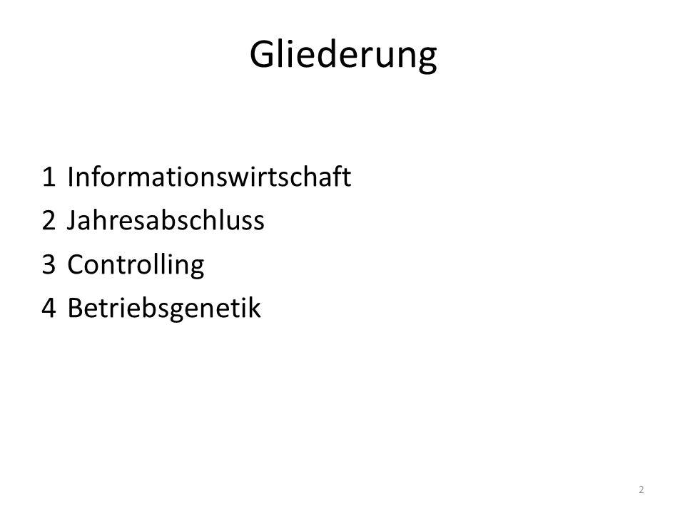 Gliederung 1 Informationswirtschaft 1.1 Grundlagen 1.2 Entwicklung eines KIS 1.3 Ausgewählte Probleme 1.4 Public Relations und externe Informationswirtschaft 2 Jahresabschluss 3 Controlling 4 Betriebsgenetik 3
