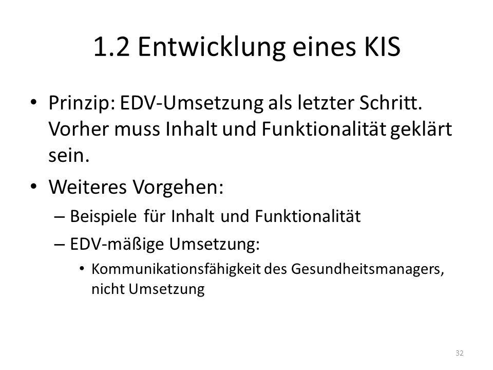 1.2 Entwicklung eines KIS Prinzip: EDV-Umsetzung als letzter Schritt. Vorher muss Inhalt und Funktionalität geklärt sein. Weiteres Vorgehen: – Beispie