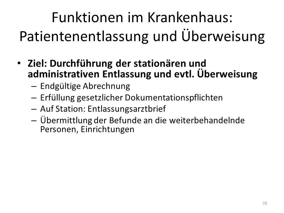 Funktionen im Krankenhaus: Patientenentlassung und Überweisung Ziel: Durchführung der stationären und administrativen Entlassung und evtl. Überweisung