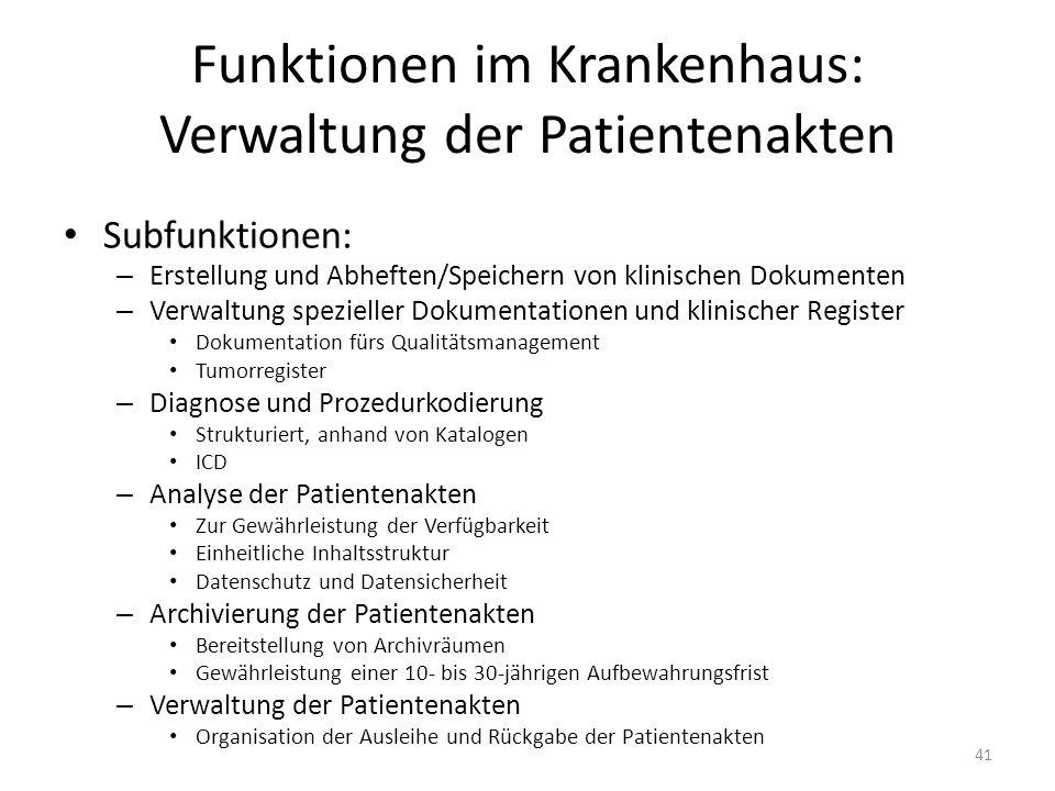 Funktionen im Krankenhaus: Verwaltung der Patientenakten Subfunktionen: – Erstellung und Abheften/Speichern von klinischen Dokumenten – Verwaltung spe