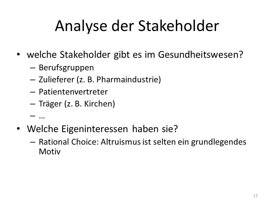 Analyse der Stakeholder welche Stakeholder gibt es im Gesundheitswesen? – Berufsgruppen – Zulieferer (z. B. Pharmaindustrie) – Patientenvertreter – Tr
