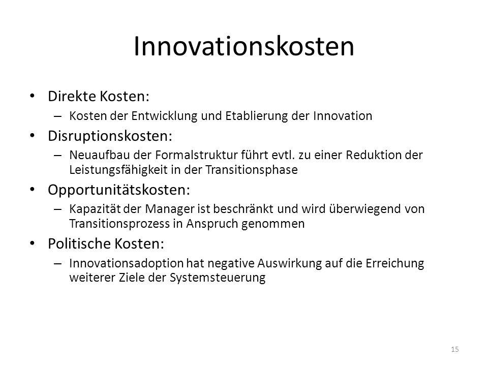 Innovationskosten Direkte Kosten: – Kosten der Entwicklung und Etablierung der Innovation Disruptionskosten: – Neuaufbau der Formalstruktur führt evtl