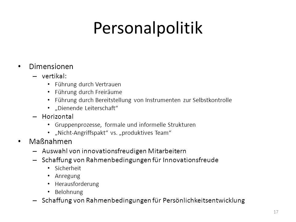 Personalpolitik Dimensionen – vertikal: Führung durch Vertrauen Führung durch Freiräume Führung durch Bereitstellung von Instrumenten zur Selbstkontro