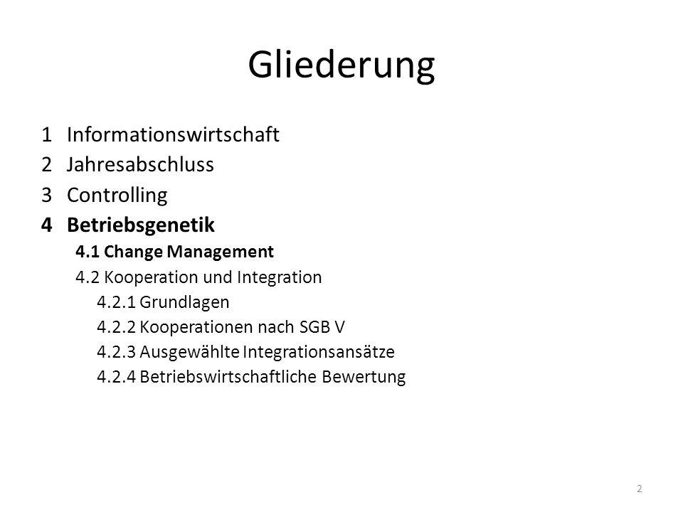 Gliederung 1Informationswirtschaft 2 Jahresabschluss 3 Controlling 4Betriebsgenetik 4.1 Change Management 4.2 Kooperation und Integration 4.2.1 Grundl