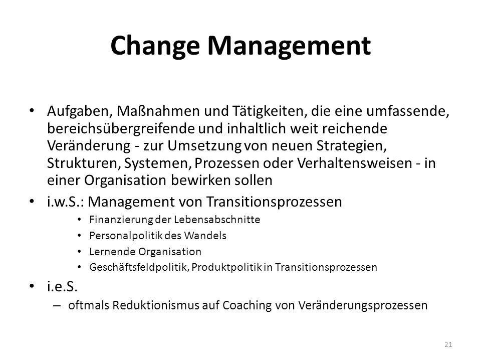 Change Management Aufgaben, Maßnahmen und Tätigkeiten, die eine umfassende, bereichsübergreifende und inhaltlich weit reichende Veränderung - zur Umse