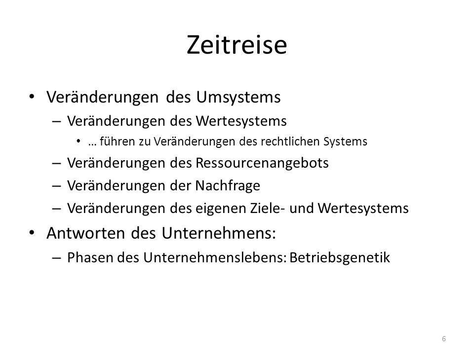 Zeitreise Veränderungen des Umsystems – Veränderungen des Wertesystems … führen zu Veränderungen des rechtlichen Systems – Veränderungen des Ressource