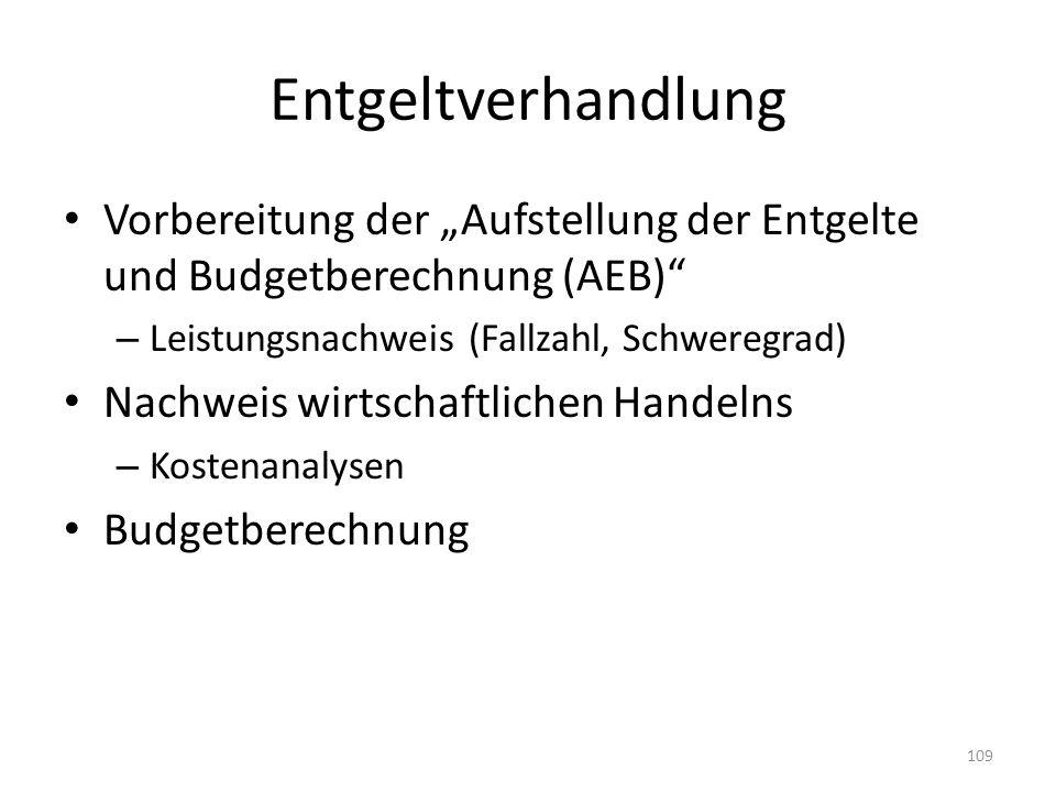 Entgeltverhandlung Vorbereitung der Aufstellung der Entgelte und Budgetberechnung (AEB) – Leistungsnachweis (Fallzahl, Schweregrad) Nachweis wirtschaf