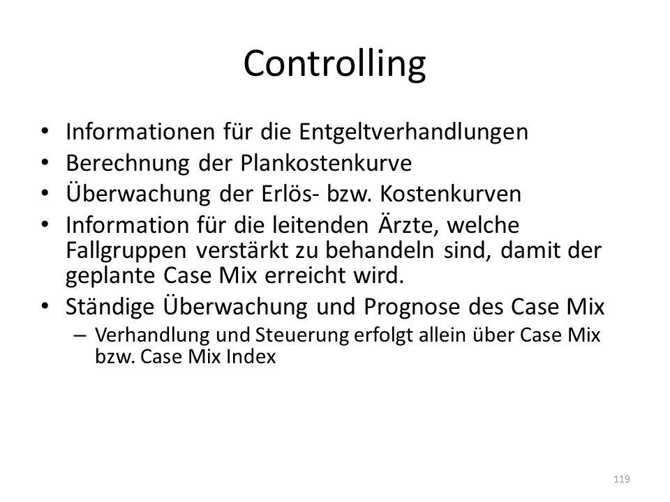 Controlling Informationen für die Entgeltverhandlungen Berechnung der Plankostenkurve Überwachung der Erlös- bzw. Kostenkurven Information für die lei