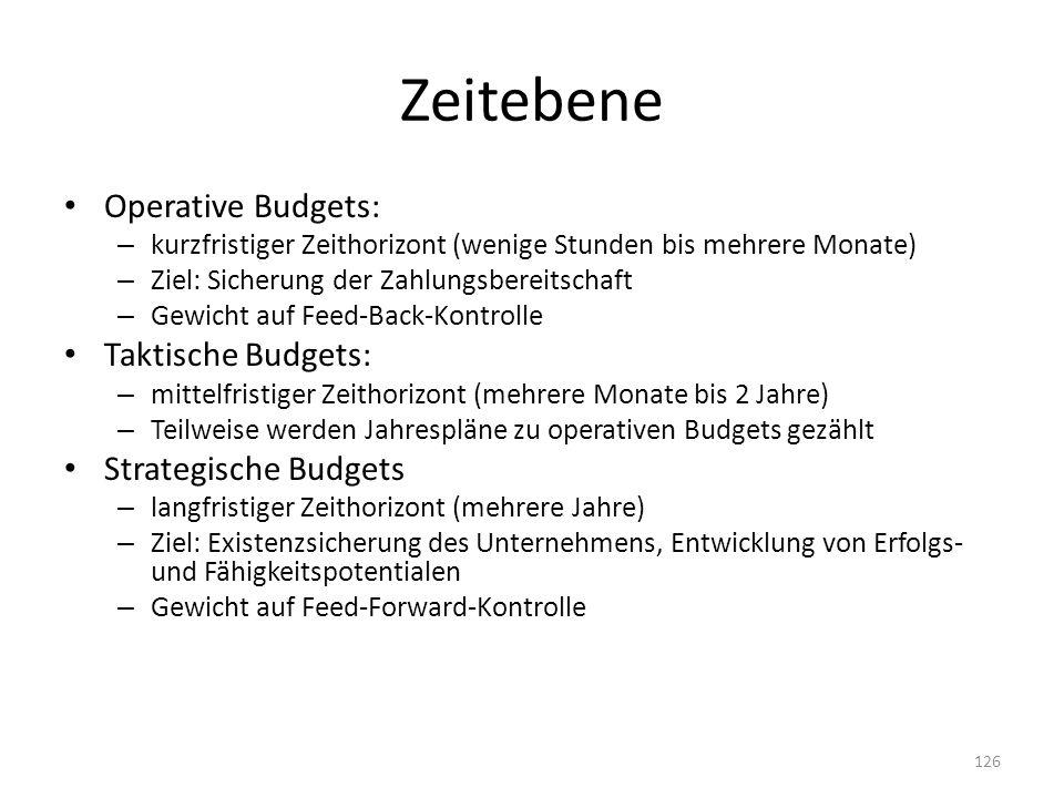 Zeitebene Operative Budgets: – kurzfristiger Zeithorizont (wenige Stunden bis mehrere Monate) – Ziel: Sicherung der Zahlungsbereitschaft – Gewicht auf