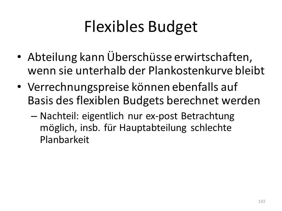 Flexibles Budget Abteilung kann Überschüsse erwirtschaften, wenn sie unterhalb der Plankostenkurve bleibt Verrechnungspreise können ebenfalls auf Basi