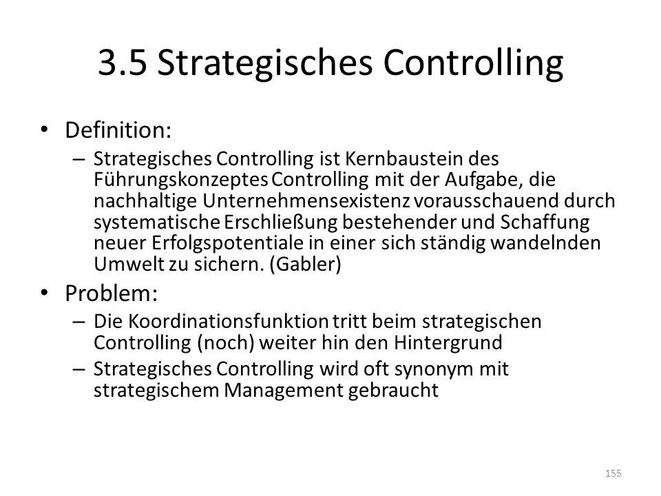 3.5 Strategisches Controlling Definition: – Strategisches Controlling ist Kernbaustein des Führungskonzeptes Controlling mit der Aufgabe, die nachhalt