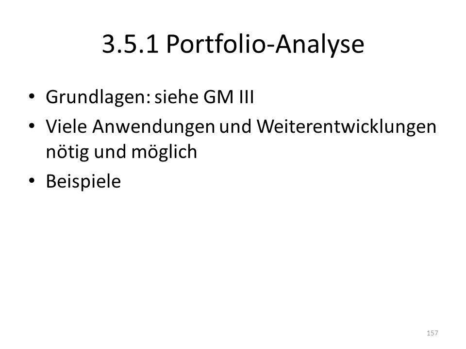 3.5.1 Portfolio-Analyse Grundlagen: siehe GM III Viele Anwendungen und Weiterentwicklungen nötig und möglich Beispiele 157