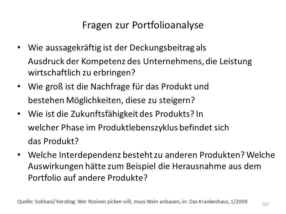 Fragen zur Portfolioanalyse Wie aussagekräftig ist der Deckungsbeitrag als Ausdruck der Kompetenz des Unternehmens, die Leistung wirtschaftlich zu erb
