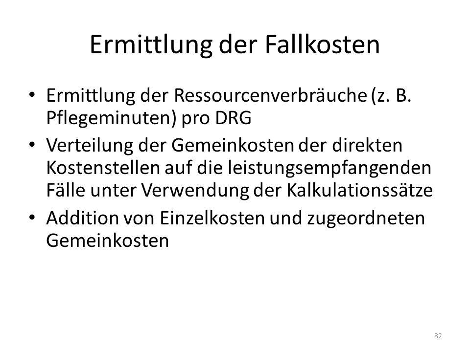 Ermittlung der Fallkosten Ermittlung der Ressourcenverbräuche (z. B. Pflegeminuten) pro DRG Verteilung der Gemeinkosten der direkten Kostenstellen auf