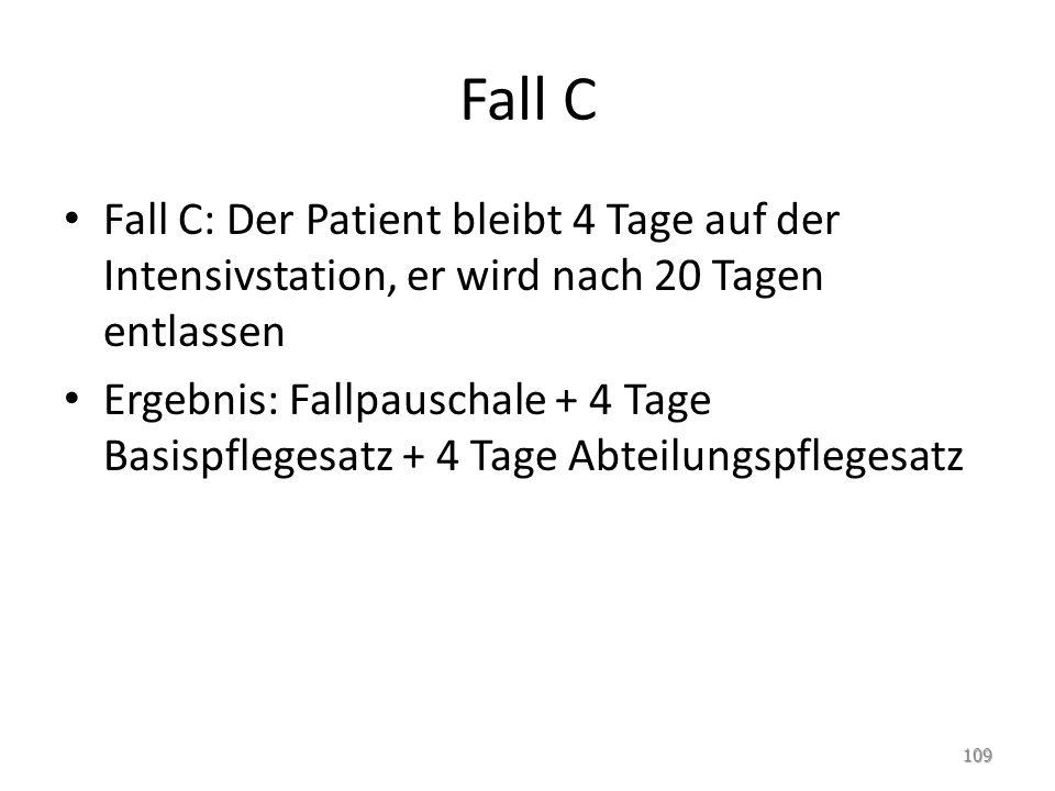 Fall C Fall C: Der Patient bleibt 4 Tage auf der Intensivstation, er wird nach 20 Tagen entlassen Ergebnis: Fallpauschale + 4 Tage Basispflegesatz + 4 Tage Abteilungspflegesatz 109
