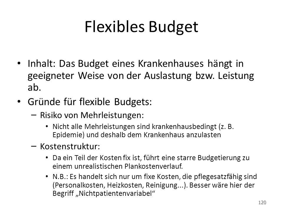 Flexibles Budget Inhalt: Das Budget eines Krankenhauses hängt in geeigneter Weise von der Auslastung bzw. Leistung ab. Gründe für flexible Budgets: –