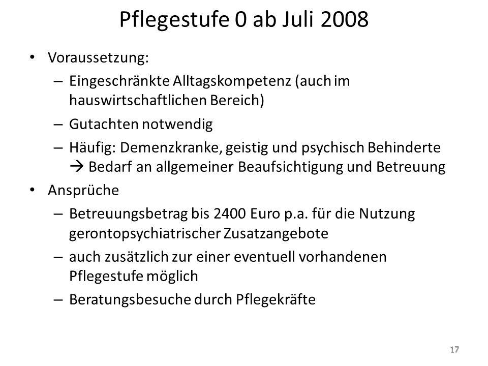 Pflegestufe 0 ab Juli 2008 Voraussetzung: – Eingeschränkte Alltagskompetenz (auch im hauswirtschaftlichen Bereich) – Gutachten notwendig – Häufig: Dem