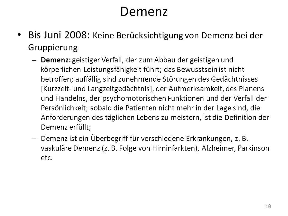 Demenz Bis Juni 2008: Keine Berücksichtigung von Demenz bei der Gruppierung – Demenz: geistiger Verfall, der zum Abbau der geistigen und körperlichen Leistungsfähigkeit führt; das Bewusstsein ist nicht betroffen; auffällig sind zunehmende Störungen des Gedächtnisses [Kurzzeit- und Langzeitgedächtnis], der Aufmerksamkeit, des Planens und Handelns, der psychomotorischen Funktionen und der Verfall der Persönlichkeit; sobald die Patienten nicht mehr in der Lage sind, die Anforderungen des täglichen Lebens zu meistern, ist die Definition der Demenz erfüllt; – Demenz ist ein Überbegriff für verschiedene Erkrankungen, z.