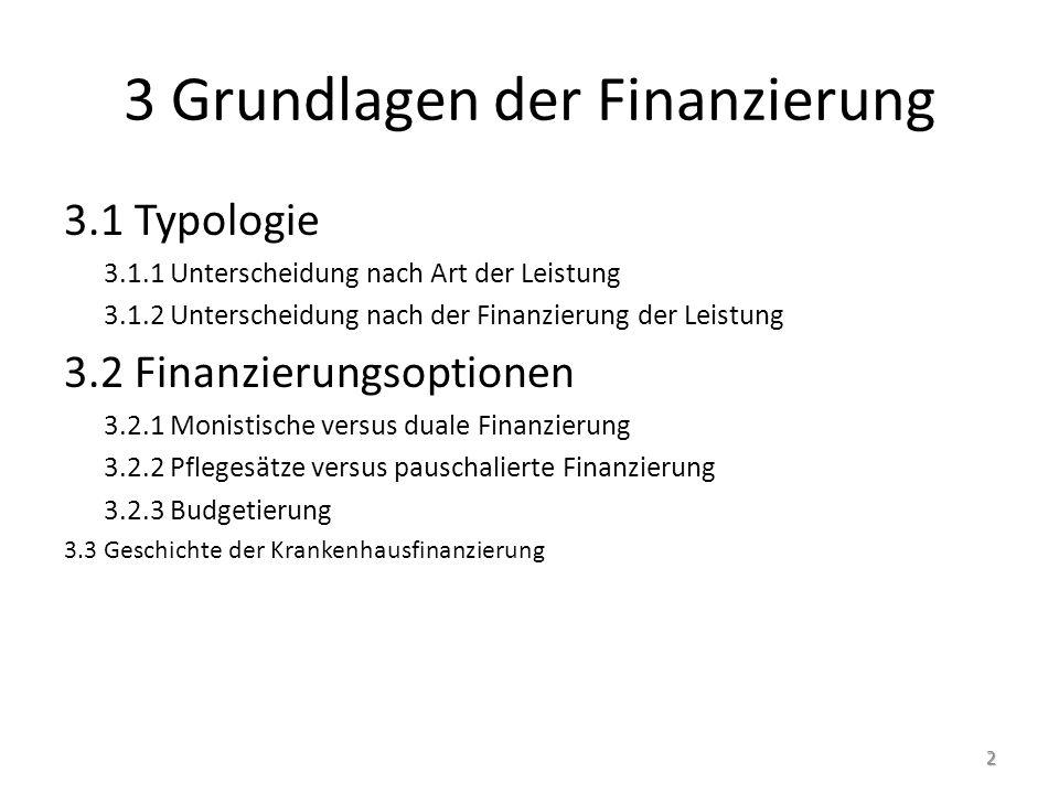 3 Grundlagen der Finanzierung 3.1 Typologie 3.1.1 Unterscheidung nach Art der Leistung 3.1.2 Unterscheidung nach der Finanzierung der Leistung 3.2 Finanzierungsoptionen 3.2.1 Monistische versus duale Finanzierung 3.2.2 Pflegesätze versus pauschalierte Finanzierung 3.2.3 Budgetierung 3.3 Geschichte der Krankenhausfinanzierung 2