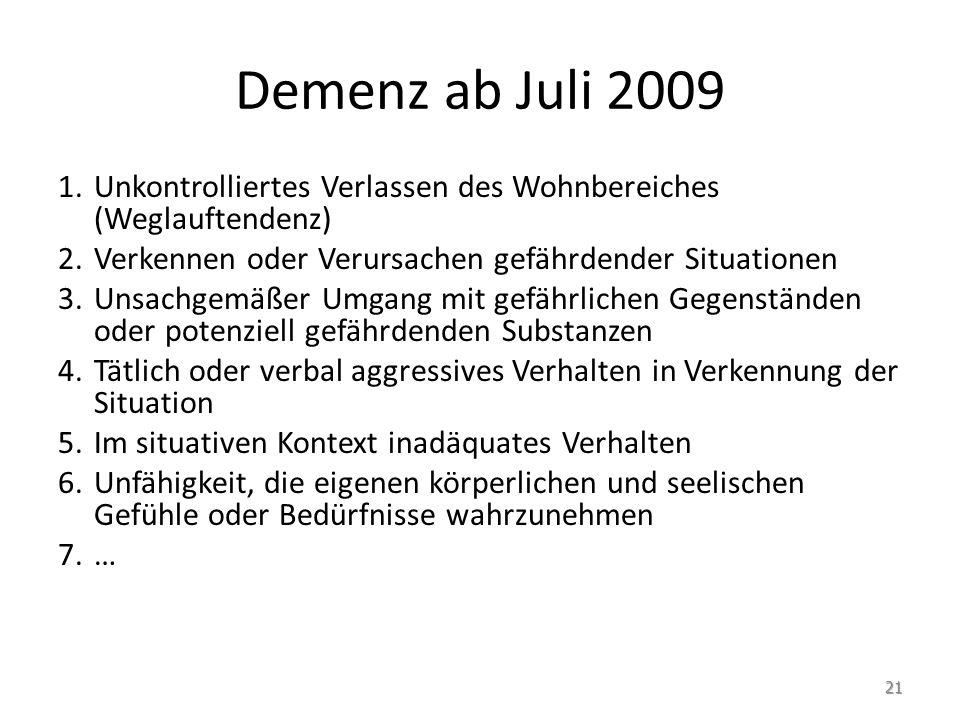 Demenz ab Juli 2009 1.Unkontrolliertes Verlassen des Wohnbereiches (Weglauftendenz) 2.Verkennen oder Verursachen gefährdender Situationen 3.Unsachgemäßer Umgang mit gefährlichen Gegenständen oder potenziell gefährdenden Substanzen 4.Tätlich oder verbal aggressives Verhalten in Verkennung der Situation 5.Im situativen Kontext inadäquates Verhalten 6.Unfähigkeit, die eigenen körperlichen und seelischen Gefühle oder Bedürfnisse wahrzunehmen 7.… 21