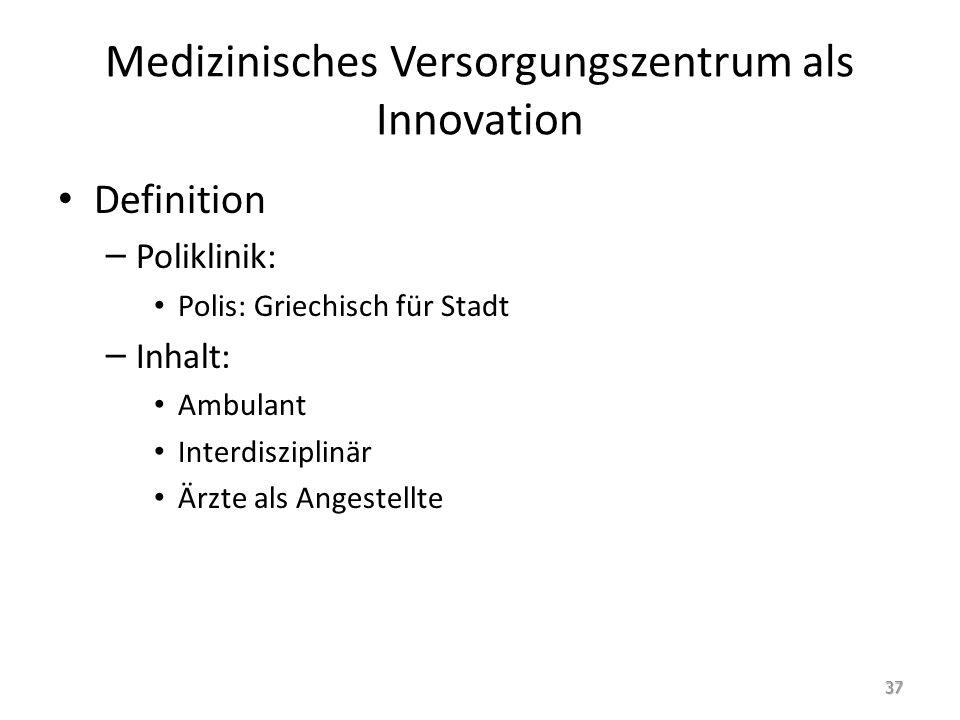 Medizinisches Versorgungszentrum als Innovation Definition – Poliklinik: Polis: Griechisch für Stadt – Inhalt: Ambulant Interdisziplinär Ärzte als Angestellte 37