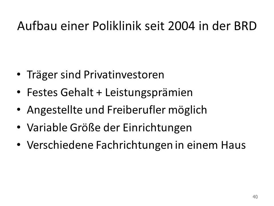Aufbau einer Poliklinik seit 2004 in der BRD Träger sind Privatinvestoren Festes Gehalt + Leistungsprämien Angestellte und Freiberufler möglich Variab