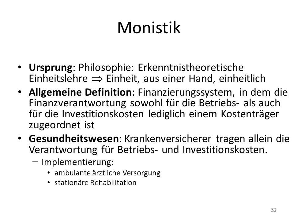 Monistik Ursprung: Philosophie: Erkenntnistheoretische Einheitslehre Einheit, aus einer Hand, einheitlich Allgemeine Definition: Finanzierungssystem,