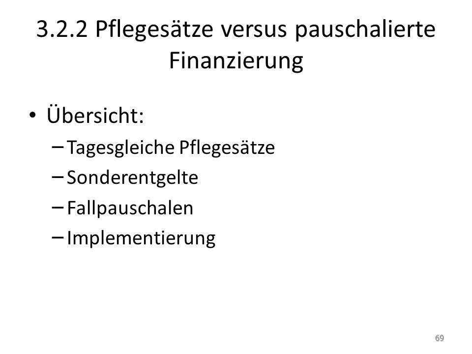 3.2.2 Pflegesätze versus pauschalierte Finanzierung Übersicht: – Tagesgleiche Pflegesätze – Sonderentgelte – Fallpauschalen – Implementierung 69