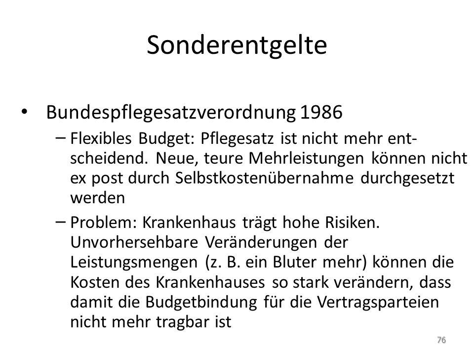Sonderentgelte Bundespflegesatzverordnung 1986 – Flexibles Budget: Pflegesatz ist nicht mehr ent- scheidend. Neue, teure Mehrleistungen können nicht e