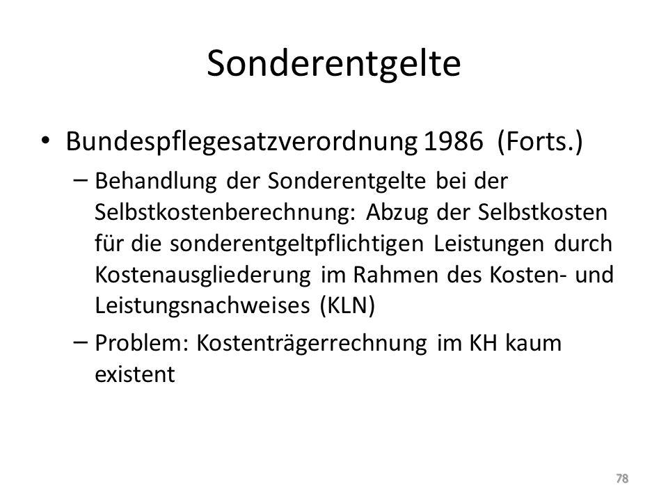Sonderentgelte Bundespflegesatzverordnung 1986 (Forts.) – Behandlung der Sonderentgelte bei der Selbstkostenberechnung: Abzug der Selbstkosten für die