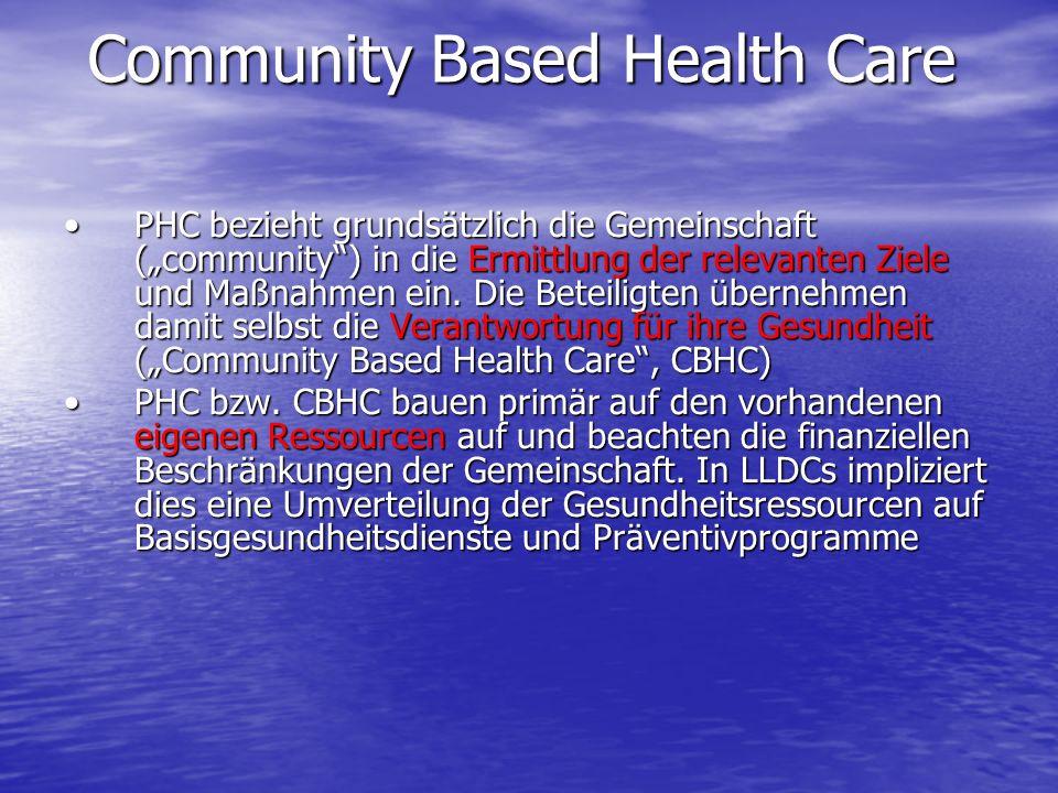 PHC bezieht grundsätzlich die Gemeinschaft (community) in die Ermittlung der relevanten Ziele und Maßnahmen ein. Die Beteiligten übernehmen damit selb