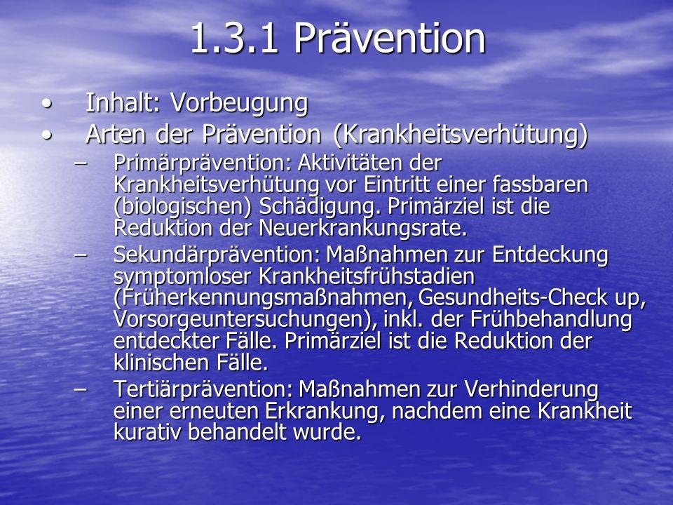 Inhalt: VorbeugungInhalt: Vorbeugung Arten der Prävention (Krankheitsverhütung)Arten der Prävention (Krankheitsverhütung) –Primärprävention: Aktivität