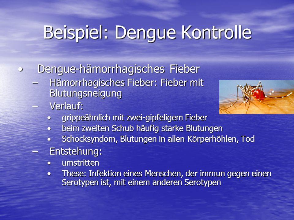Beispiel: Dengue Kontrolle Dengue-hämorrhagisches FieberDengue-hämorrhagisches Fieber –Hämorrhagisches Fieber: Fieber mit Blutungsneigung –Verlauf: gr