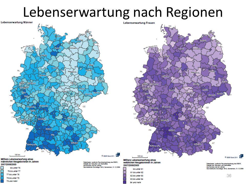 Lebenserwartung nach Regionen 36