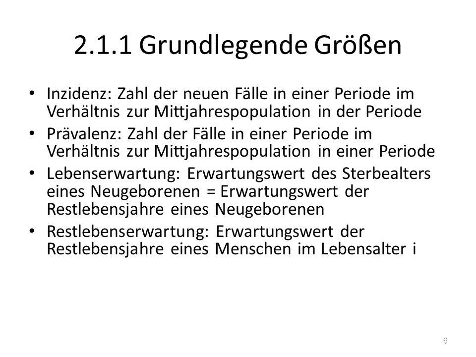 2.1.1 Grundlegende Größen Inzidenz: Zahl der neuen Fälle in einer Periode im Verhältnis zur Mittjahrespopulation in der Periode Prävalenz: Zahl der Fä