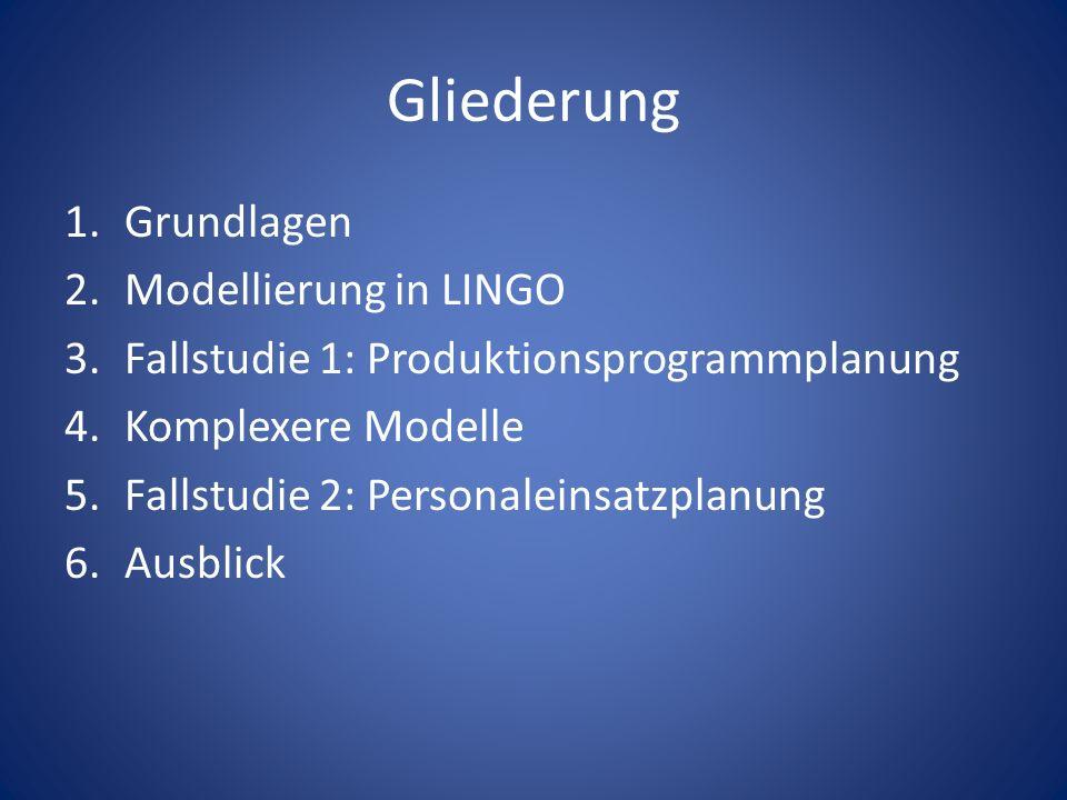 Gliederung 1.Grundlagen 2.Modellierung in LINGO 3.Fallstudie 1: Produktionsprogrammplanung 4.Komplexere Modelle 5.Fallstudie 2: Personaleinsatzplanung