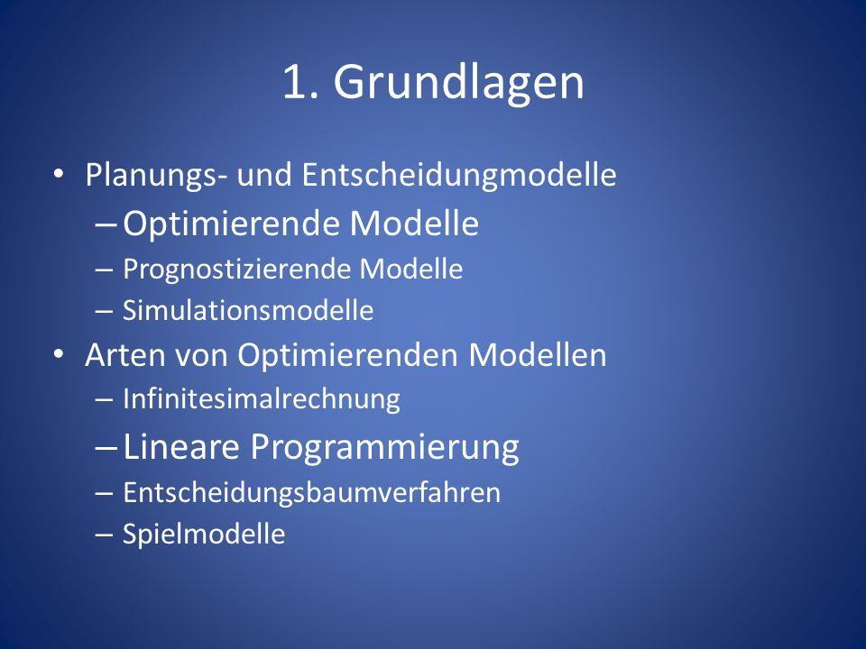 1. Grundlagen Planungs- und Entscheidungmodelle – Optimierende Modelle – Prognostizierende Modelle – Simulationsmodelle Arten von Optimierenden Modell