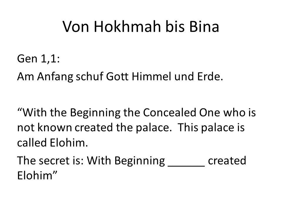 Von Hokhmah bis Bina Gen 1,1: Am Anfang schuf Gott Himmel und Erde.