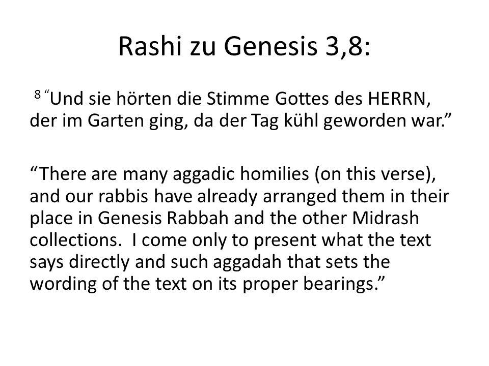 Rashi zu Genesis 3,8: 8 Und sie hörten die Stimme Gottes des HERRN, der im Garten ging, da der Tag kühl geworden war. There are many aggadic homilies