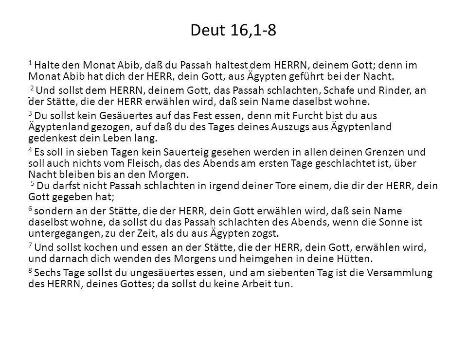 Deut 16,1-8 1 Halte den Monat Abib, daß du Passah haltest dem HERRN, deinem Gott; denn im Monat Abib hat dich der HERR, dein Gott, aus Ägypten geführt bei der Nacht.