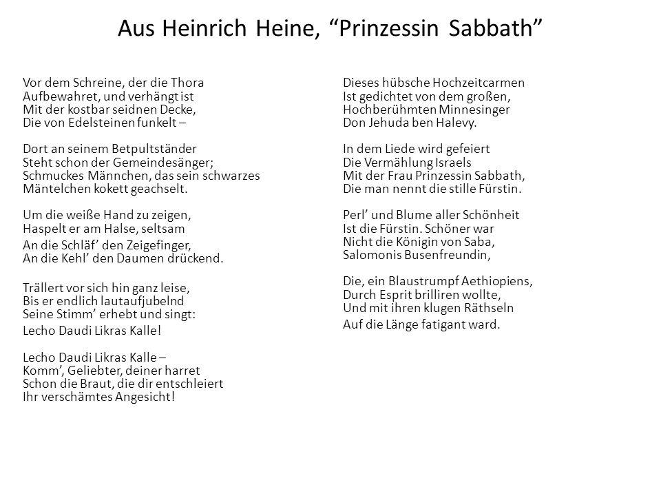 Aus Heinrich Heine, Prinzessin Sabbath Vor dem Schreine, der die Thora Aufbewahret, und verhängt ist Mit der kostbar seidnen Decke, Die von Edelsteine