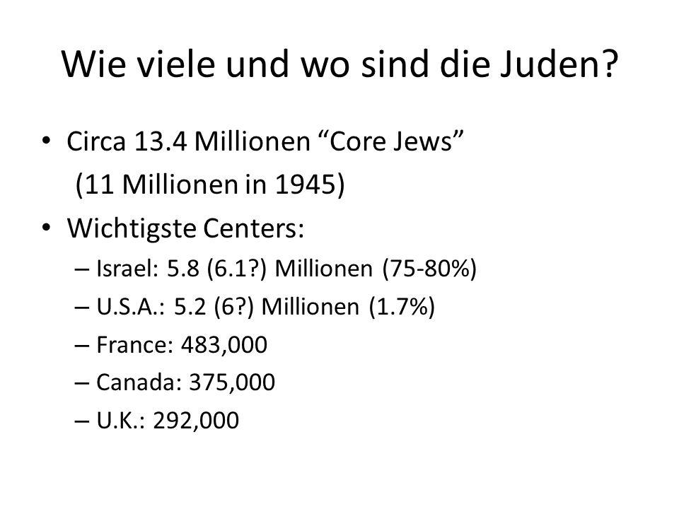Wie viele und wo sind die Juden.