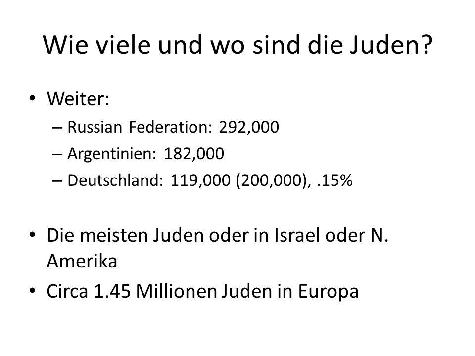Die Wichtigste Jüdische Städte 1.Tel Aviv: 2.9 Milionen 2.